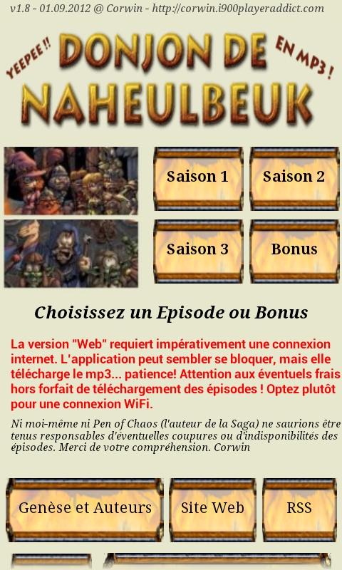 [SOFT] LE DONJON DE NAHEULBEUK : suivez, en audio streaming et les news en RSS, de la cultissime série [Gratuit] 1